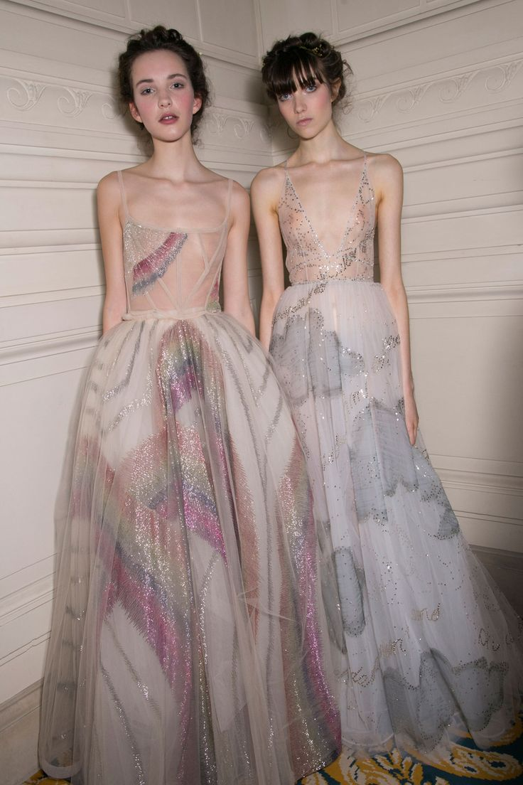 Valentino Spring 2015 Couture long white organza dresses with clous and rainbow designs in beading and sequins so pretty.
