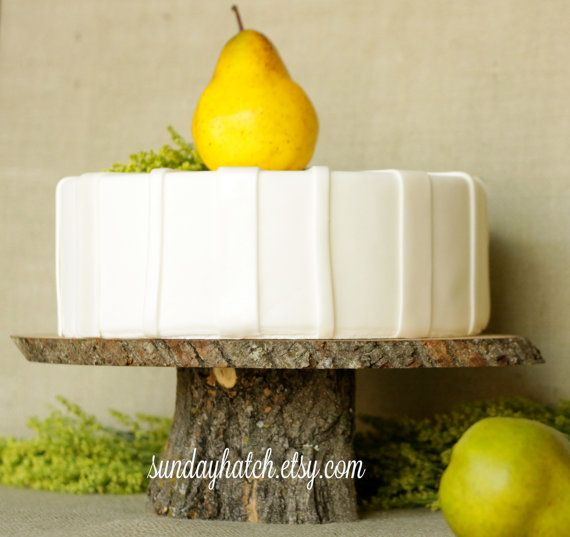 Large Wood or Wooden Cake Stand for Rustic Wedding Featured in FOOD NETWORK Magazine. $44.00, via Etsy.