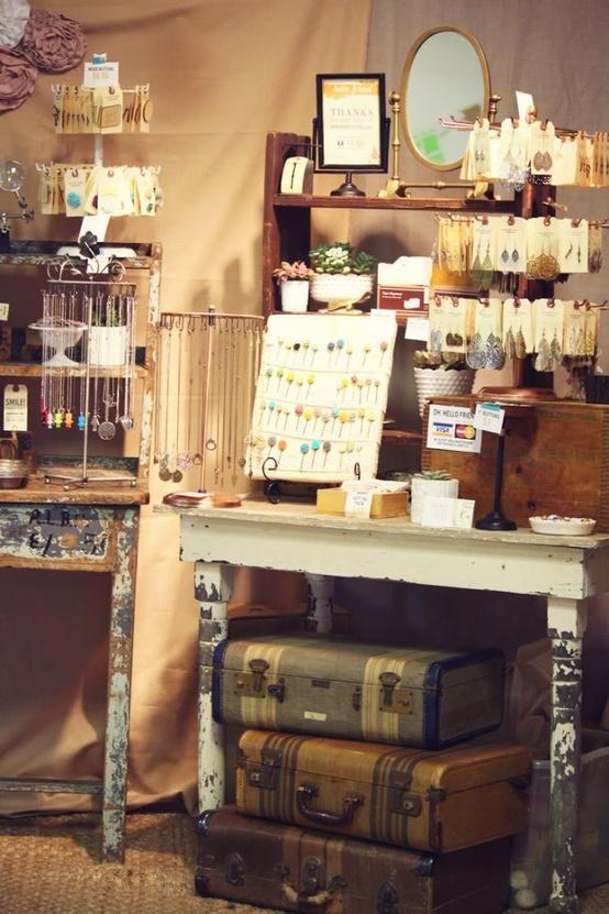 look for display racks like this for jewelery, etc; vintage luggage