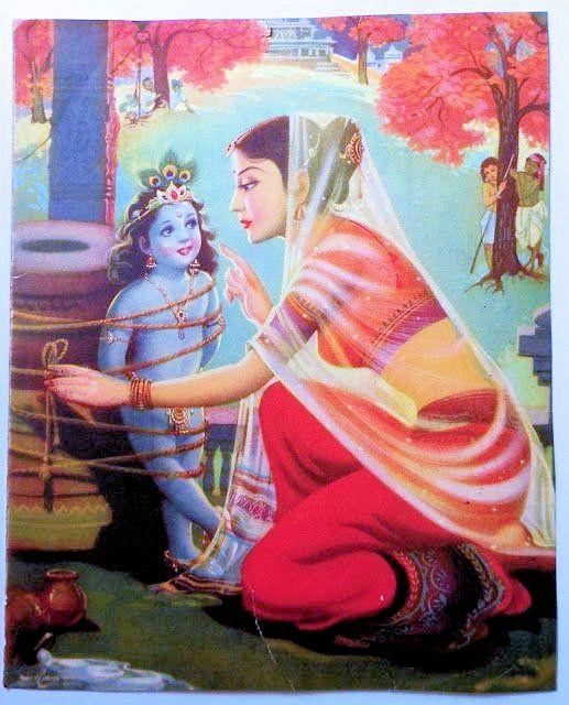 Cette illustration se rapporte à une légende relative au Seigneur Krishna, enfant, que sa mère punit en l'attachant, mais la corde s'avère toujours trop courte de quelques centimètres pour qu'elle puisse être nouée, même si elle en rajoute des bouts.  Vous trouverez cette histoire en suivant le lien indiqué ci-dessous.