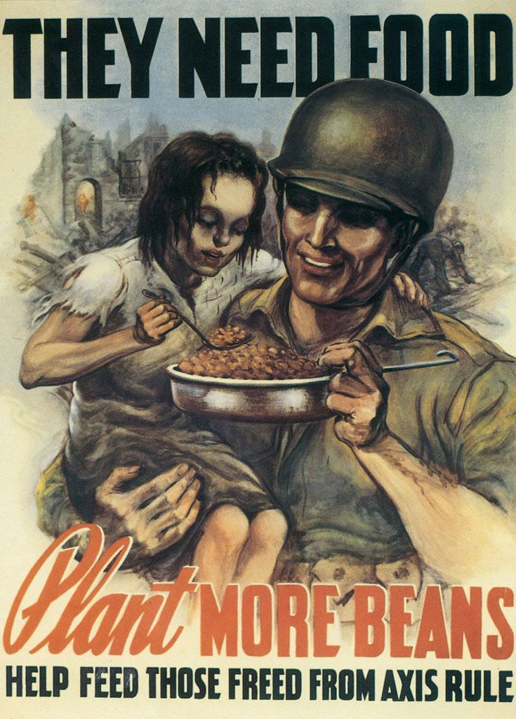 World War II poster promoting home gardens so that food can be sent to refugees freed from Axis regions. 1944.