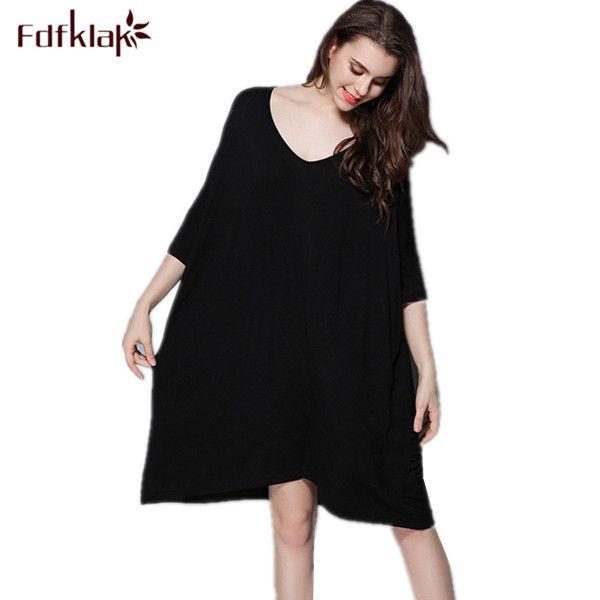 Women Nighties Sleepwear Sexy Night Clothes Modal Spring Summer Nightgowns Night Wear Nightgowns Women Black/Gray 7 Colors Q308 #Affiliate