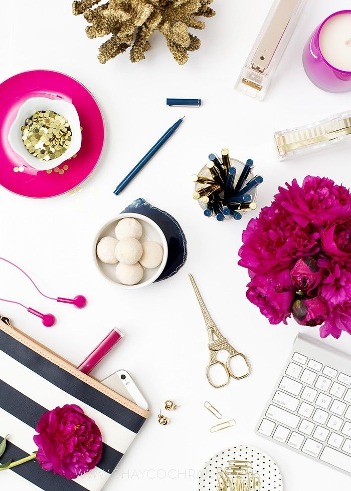 Product Styling, prop styling, and photography by Shay Cochrane | www.shaycochrane.com | navy, fuchsia, gold, desktop, product photography, beautiful desks, beautiful workspace, office, decorating, business, branding, etsy, shop, peonies, stripes, pink, truffles, pink earbuds