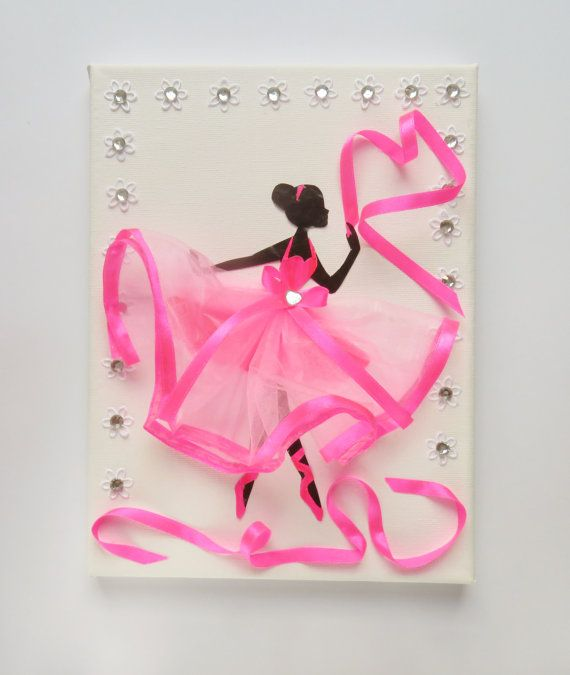 Ballerina picture on the wall/ pink/ ballet dancer/ by MonnaAmina