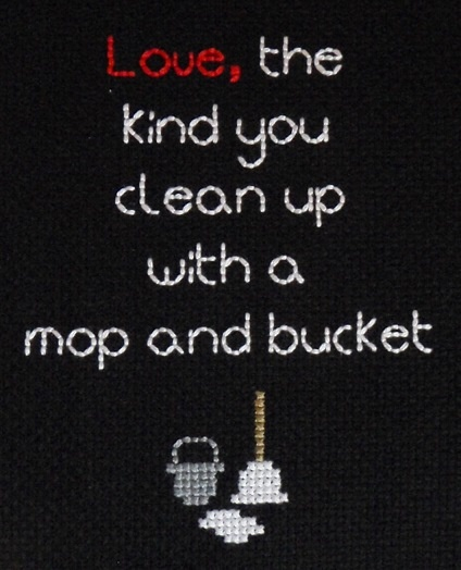 The genius of the Bloodhound Gang, captured in cross stitch. Excellent.