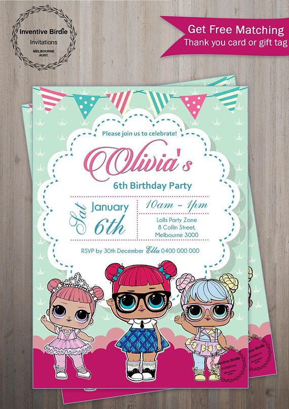 Lol SURPRISE Invitation LOL Surprise Doll Party With Photo Birthday Get FREE Thank You Tag