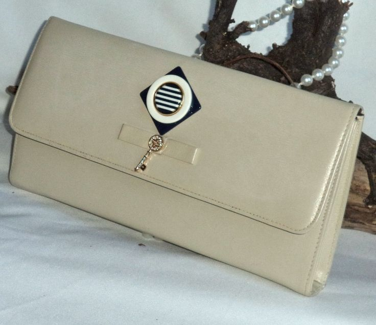 Vintage 60s VEGAN Nautical Cream Clutch Bag Jeweled Gold diamond Key Retro Mod