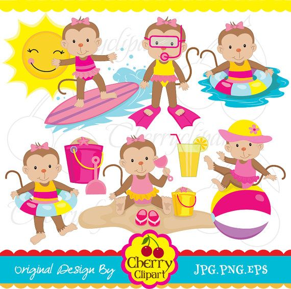 Summer beach time monkeys for girls digital clipart set -Personal and Commercial Use-paper crafts,card making,scrapbooking,web design