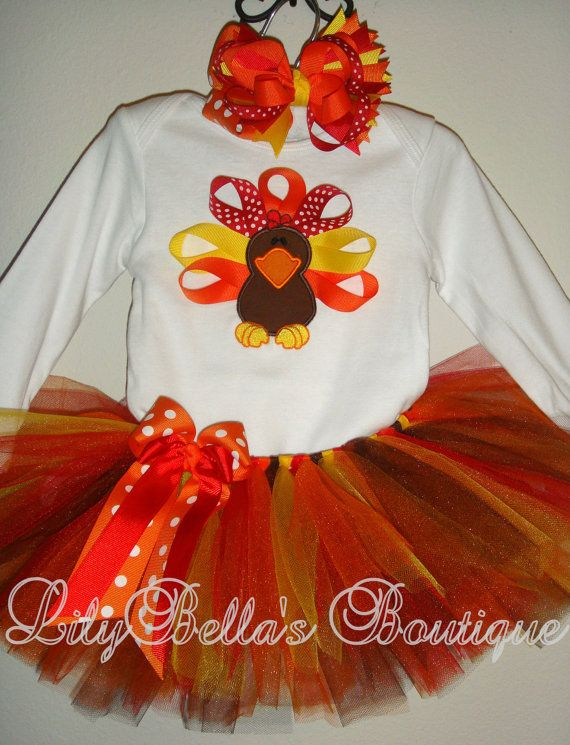 Baby girl thanksgiving applique onesie, tutu, and hair bow- Thanksgiving Ribbon Turkey Outfit