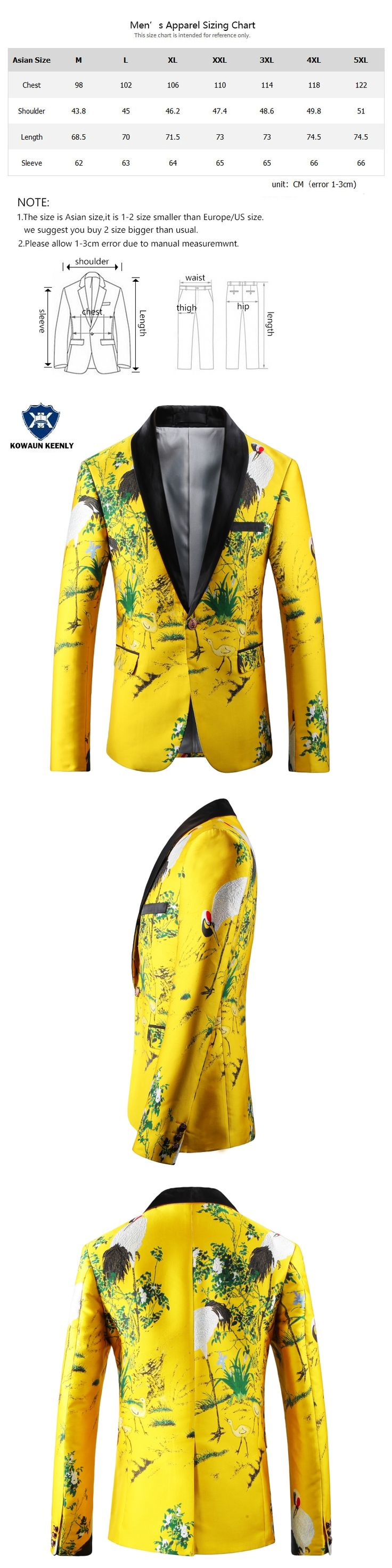 Men Yellow Printed Blazer Slim Fit Floral Embroidery Mens Stage Wear Casual Prom Blazer Jacket Nightclub Clothes for Men 4XL 5XL