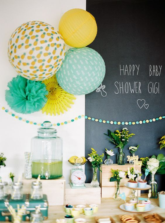 A cute blue and yellow pineapple baby shower