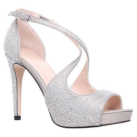 Buy Carvela Gift High Heeled Embellished Court Shoes, Silver Online at johnlewis.com