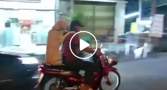 Cão Segura Guarda-Chuva Com a Boca Enquanto Anda De Scooter Com o Dono