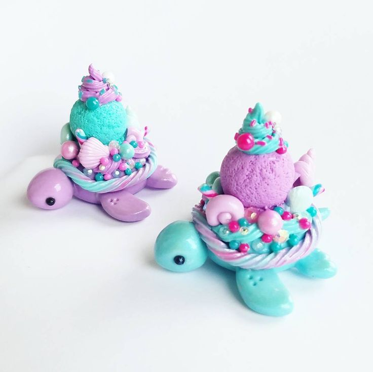 "3,019 Likes, 51 Comments - Janice M. (@claybiecharms) on Instagram: ""Mermaid dessert turtles I love how bright and fun these colors are! I also have a yellow and…"""