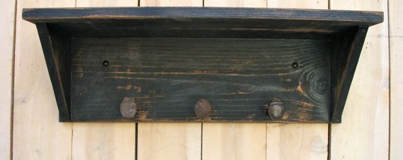 24 Inches long Railroad Shelf with 3 Railroad Spikes * Ours is the First and Original Railroad Shelf - Utilizing Old Found Railroad Spikes 24