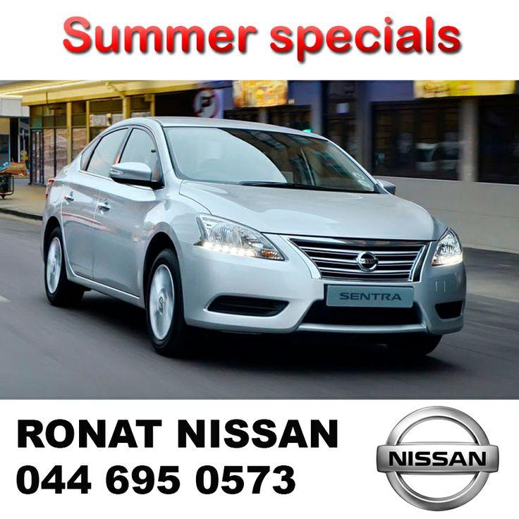 Ronat Nissan summer special on Sentra.  Sentra Acenta R212000.00 – R3799.00 p/m  With RV R75000 – R2999.00 p/m Sentra Acenta CVI R232000.00 – R4099.00 p/m. T&C's apply