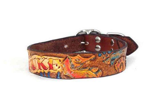 Small Personalized Leather Dog Collar  Custom by dieselDOGwear