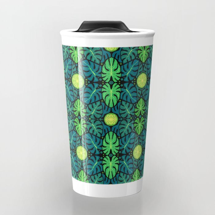 Buy Monstera leaves, floral pattern, black, green & turquoise Travel Mug by clipsocallipso. Worldwide shipping available at Society6.com. Just one of millions of high quality products available.