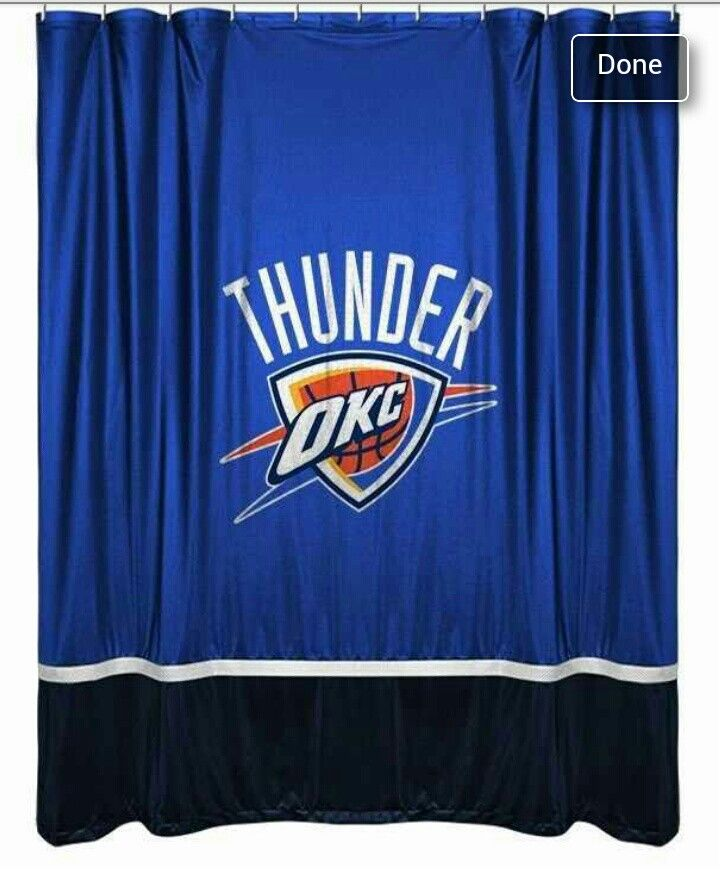 Make Your Oklahoma City Thunder NBA Themed Bathroom Match Your Team Bedroom  With This Oklahoma City Thunder Sidelines Shower Curtain By Sports Coverage.