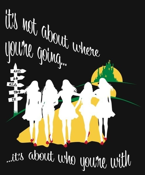 I would love love love to have Wizard of Oz/SA themed bid day/recruitment shirts next year! And the colors are perfect!
