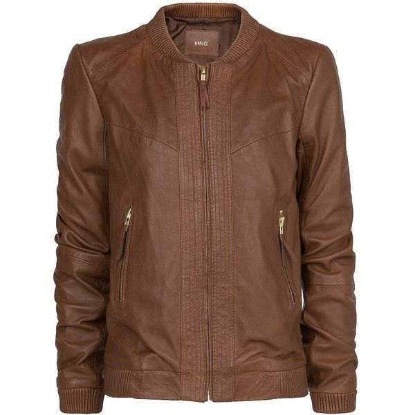 Leather Bomber Jacket (1 965 UAH) ❤ liked on Polyvore featuring outerwear, jackets, coats, chaqueta, chocolate, blouson jacket, bomber jacket, flight jacket, mango jacket and brown jacket