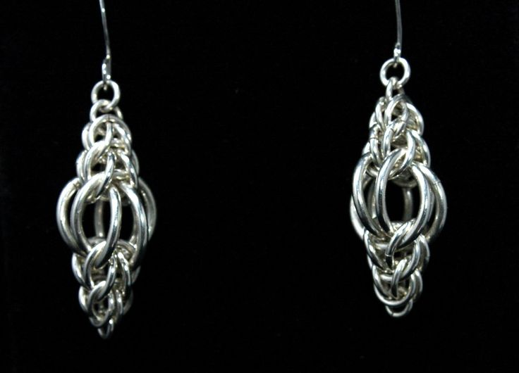 """Chainmaille Earrings """"Persian Lamps"""" - Silver Lion Jewelry. $75.00, via Etsy."""