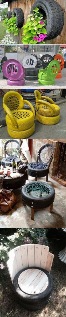 Crafts from the tires to the garden - flower beds, furniture, swings, and even a swimming pool | Holiday Design - new ideas from around the world