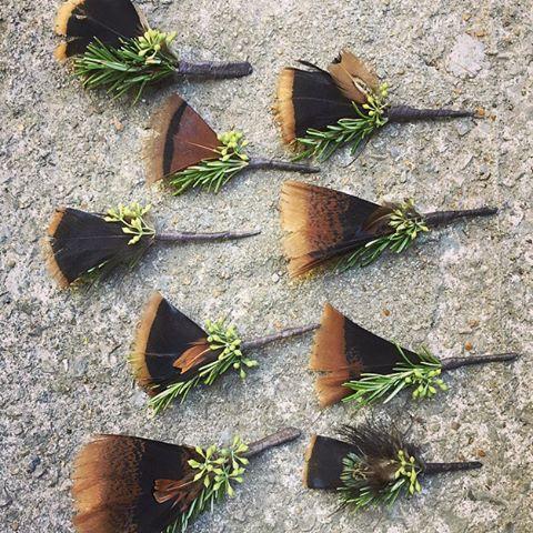 ...turkey, turkey, turkey feather boutonnieres for tonight's wedding. #theclaypot #feather #boutonniere #fall #wedding