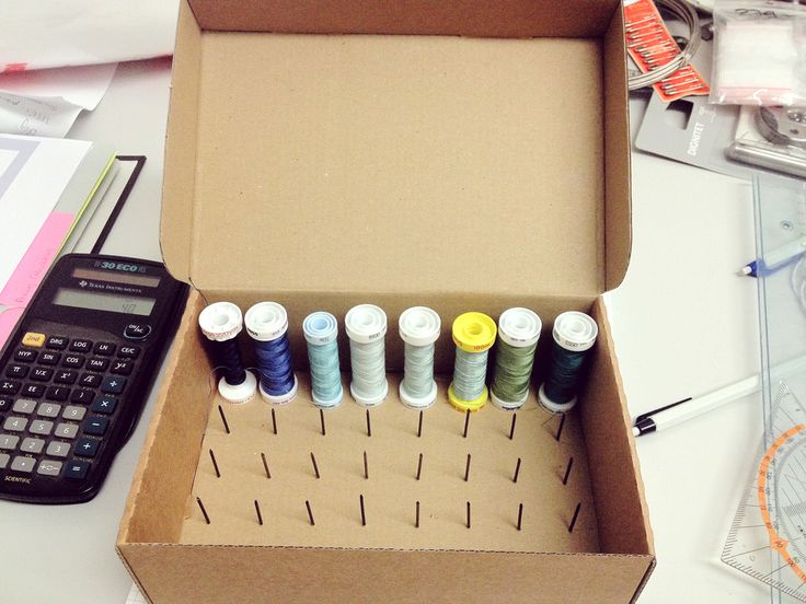 "I have a spontaneous DIY post today (so spontaneous, I only have iPhone  photos!)! This one is interesting for anyone who sews :) I took home this  small empty cardboard box from work today (it held the rolls of receipt  paper for the card reader thingy) and noticed it was the perfect height to  store spools of thread!  Just a few days ago I bought a ""spool box"" at the fabric store that holds  12 spools of thread in a nice small plastic box with a lid. And because it  cost me 7.50 Swiss ..."