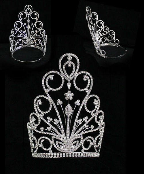beauty pageant crowns large | ... Wedding Jewelry Large Rhinestone Crystal Beauty Contest Pageant Crowns