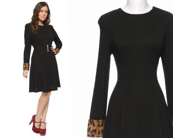 70s Knit Dress Black Leopard Fur Cuffs by GravelGhostVintage, $52.00