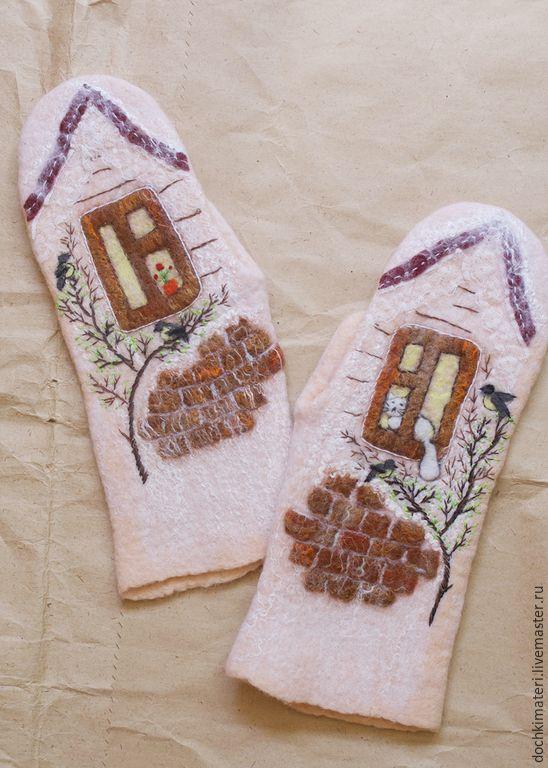 """Купить Валяные рукавички """"Кошка в окошке"""" - бежевый, рукавички, варежки, персиковый, окно, в окне, кошка"""
