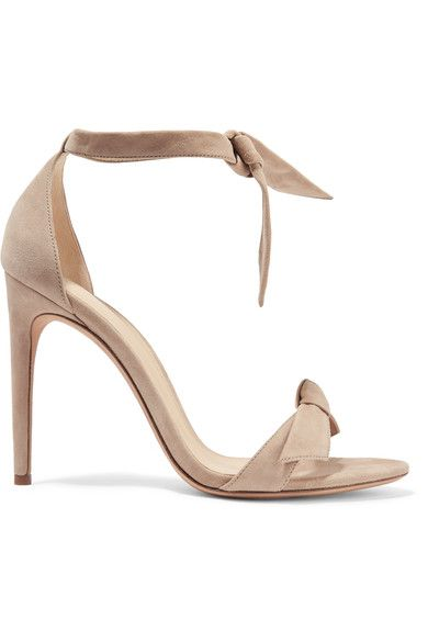 Heel measures approximately 100mm/ 4 inches Mushroom suede Ties at ankle Designer color: Balm