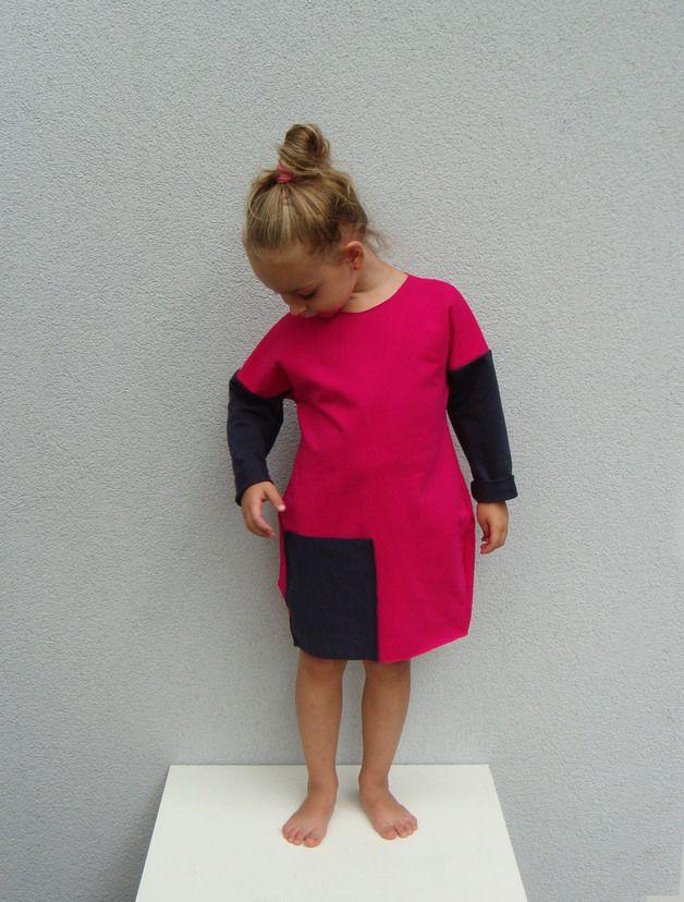 Różowa sukienka z kieszenią - millupa - Sukienki dla dziewczynek