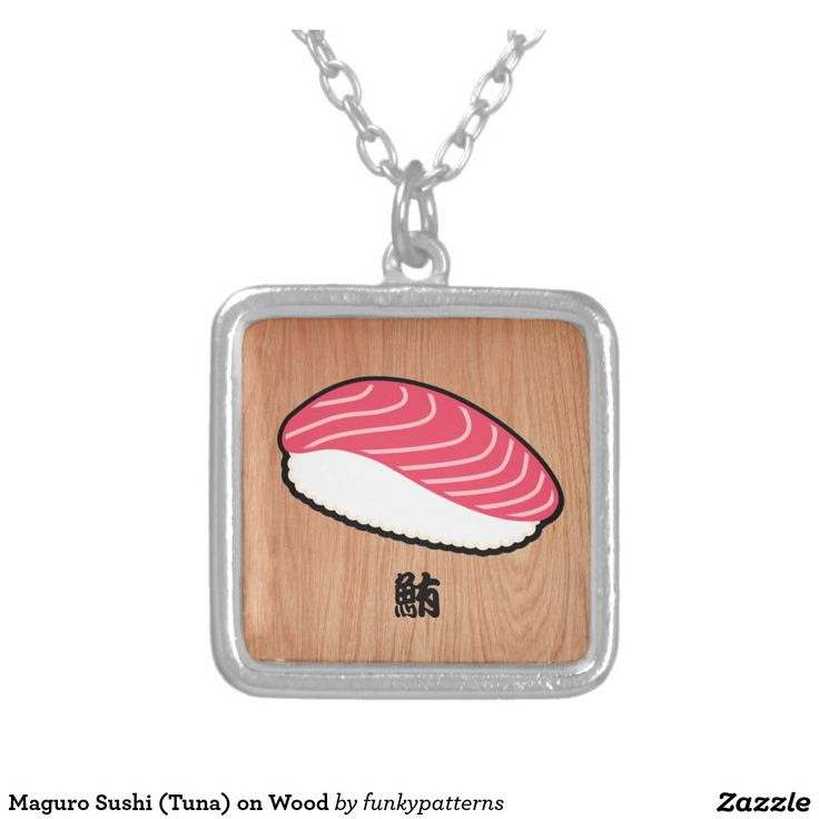 Kawaii sushi art, Sushi themed gifts, sushi drawings, gift for sushi lover, gift for japan lovers - Maguro Sushi (Tuna) on Wood Square Pendant Necklace