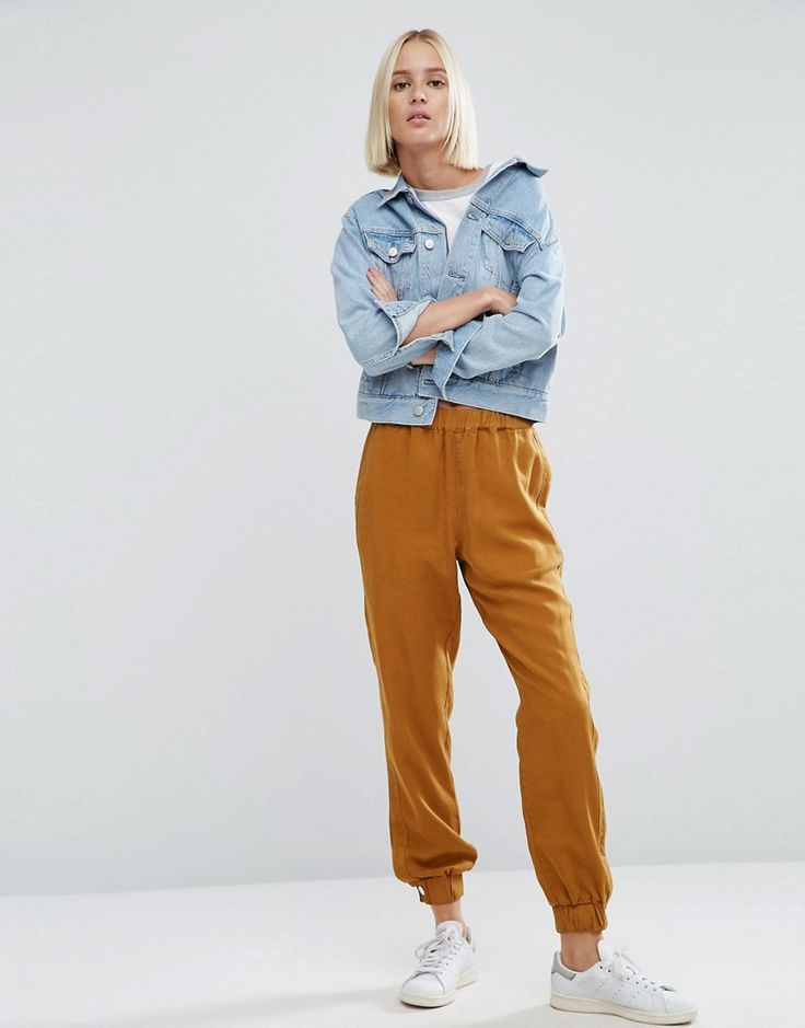 Image 1 ofASOS Washed Peg Trousers with Poppers