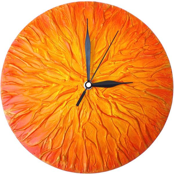 Orange Clock, ART WALL CLOCK, Unique wall clock, Orange Home Decor, (15.885 HUF) ❤ liked on Polyvore featuring home, home decor, clocks, battery clock, round wall clock, handmade home decor, orange home decor and battery operated clock