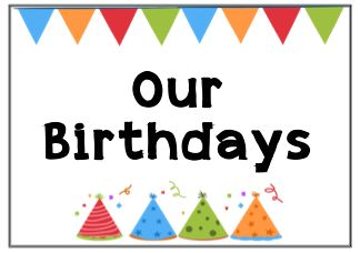 free downloadable birthday chart for the classroom.