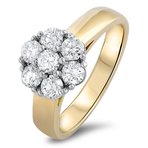 The Neville Jordan Romance Collection 18 ct yellow & white gold 1.0 ct tdw  diamond cluster engagement ring. Designed and made in New Zealand by Neville, exclusively for our store.