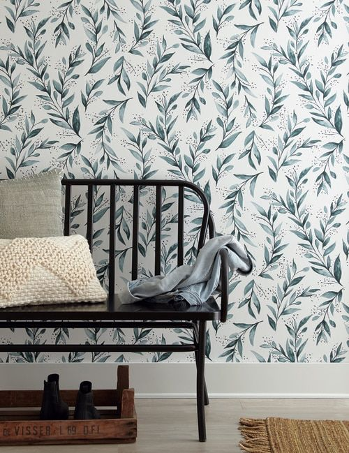 York Wallcoverings ME1536 Magnolia Home Vol. II Olive Branch Weekends (Teal) in 2019 | Magnolia II Newest collection from JoAnna Gaines | Home wallpaper, ...