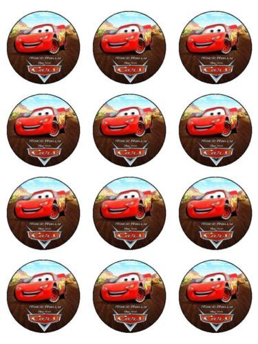 12 Disney Cars Edible Icing Cupcake Cup Cake Decoration