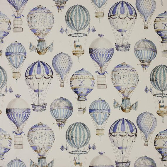 MANUEL CANOVAS Hot Air BALLOONS Toile Fabric 10 Yards Multi Blue