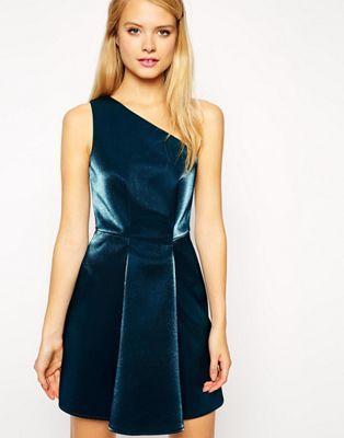 ASOS One Shoulder Metallic Prom Dress