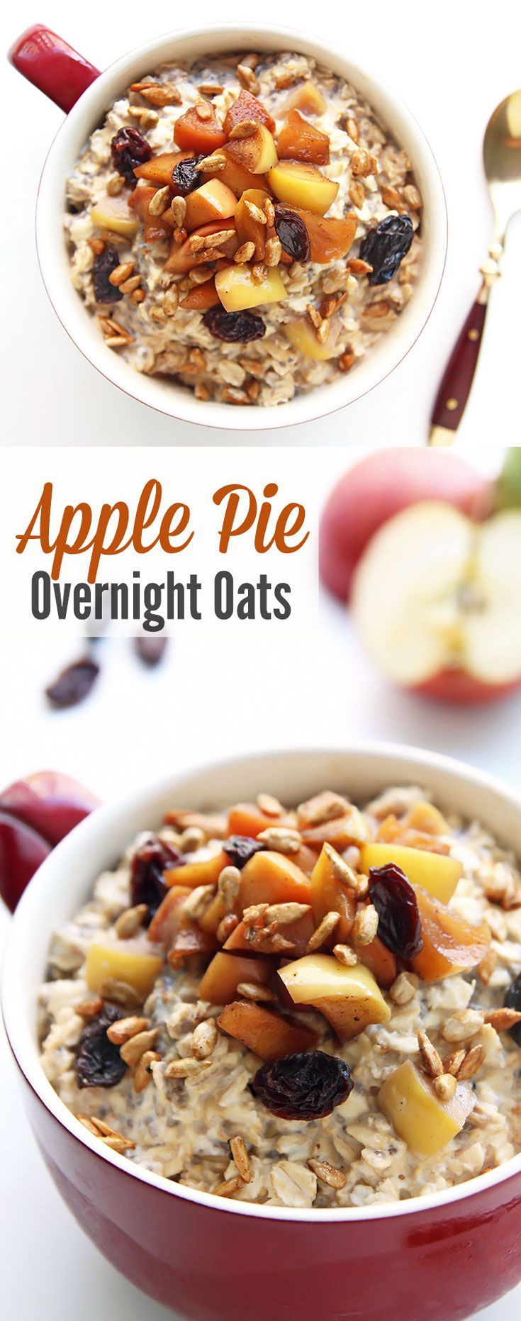 Apple Pie Overnight Oats - This healthy oatmeal is made overnight in ...