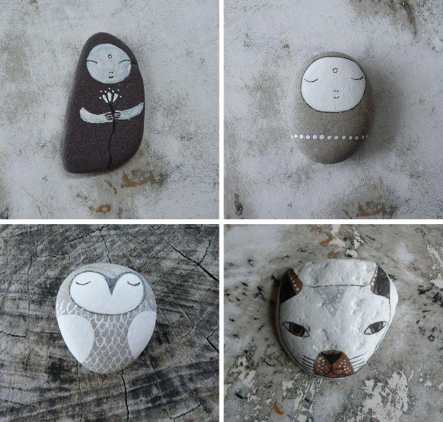 mandalas pintadas en piedras con forma de corazon - Google Search