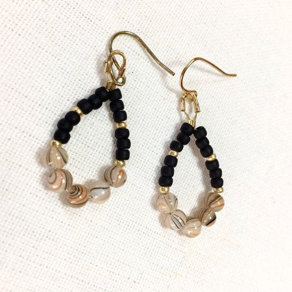 Drop Earrings with marble Japanese beads x matt black by UkiYuki