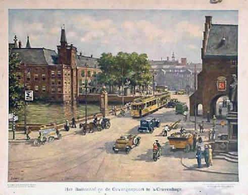 Oude schoolplaat van het Buitenhof en de Gevangenpoort.