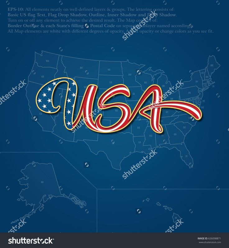 """Vector illustration of a custom-made Lettering of the word """"USA"""" over the United States map. The design follows the flow of a waving American flag. All elements neatly on well-defined layers & groups"""