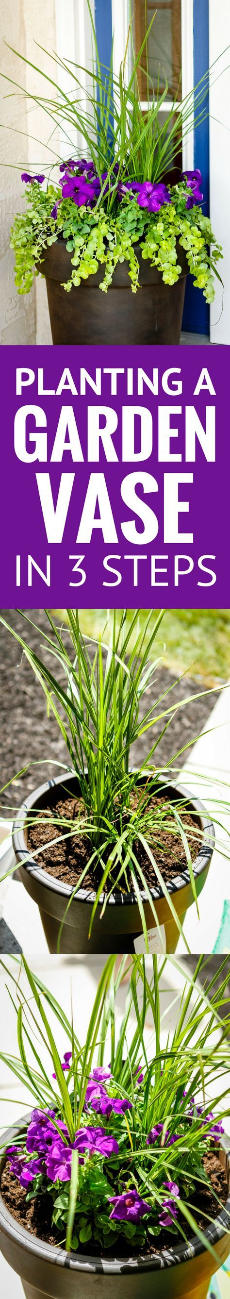 Planting a Perfectly Proportioned Garden Vase -- Pinned over 105,000 times! 3 easy steps to planting a garden vase that will be a beautiful focal point for your front porch, patio or deck! | how to plant flowers in large planters | how to plant flowers in pots outdoors | how to plant outdoor planters | planting in pots ideas | find the tutorial on unsophisticook.com
