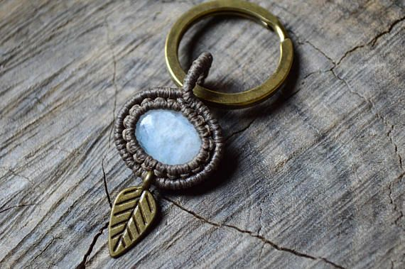 Macrame small keychain with rainbow moonstone and brass leaf